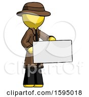 Yellow Detective Man Presenting Large Envelope