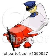 Yellow Police Man In Geebee Stunt Plane Descending View