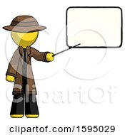 Yellow Detective Man Giving Presentation In Front Of Dry Erase Board