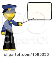 Yellow Police Man Giving Presentation In Front Of Dry Erase Board