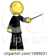 Yellow Clergy Man Teacher Or Conductor With Stick Or Baton Directing