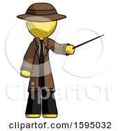 Yellow Detective Man Teacher Or Conductor With Stick Or Baton Directing
