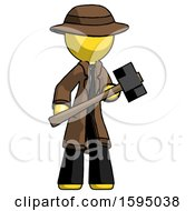 Yellow Detective Man With Sledgehammer Standing Ready To Work Or Defend