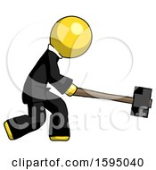Yellow Clergy Man Hitting With Sledgehammer Or Smashing Something