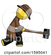 Yellow Detective Man Hitting With Sledgehammer Or Smashing Something