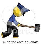 Yellow Police Man Hitting With Sledgehammer Or Smashing Something