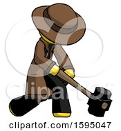 Yellow Detective Man Hitting With Sledgehammer Or Smashing Something At Angle