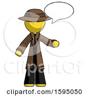Yellow Detective Man With Word Bubble Talking Chat Icon