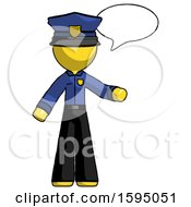 Yellow Police Man With Word Bubble Talking Chat Icon