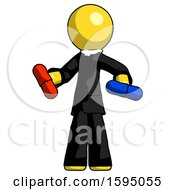 Yellow Clergy Man Red Pill Or Blue Pill Concept