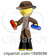 Yellow Detective Man Red Pill Or Blue Pill Concept