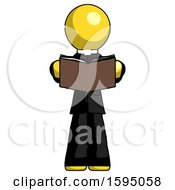Poster, Art Print Of Yellow Clergy Man Reading Book While Standing Up Facing Viewer
