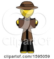 Poster, Art Print Of Yellow Detective Man Reading Book While Standing Up Facing Viewer