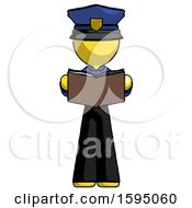 Poster, Art Print Of Yellow Police Man Reading Book While Standing Up Facing Viewer