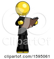 Poster, Art Print Of Yellow Clergy Man Reading Book While Standing Up Facing Away