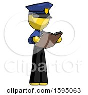 Poster, Art Print Of Yellow Police Man Reading Book While Standing Up Facing Away