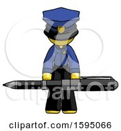 Yellow Police Man Weightlifting A Giant Pen