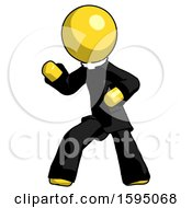 Yellow Clergy Man Martial Arts Defense Pose Left