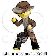 Yellow Detective Man Martial Arts Defense Pose Left