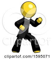 Yellow Clergy Man Martial Arts Defense Pose Right