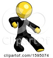 Yellow Clergy Man Karate Defense Pose Right