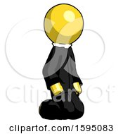 Yellow Clergy Man Kneeling Angle View Right