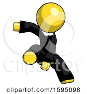 Yellow Clergy Man Action Hero Jump Pose