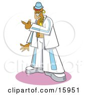 Cool African American Teenager In A White And Blue Jacket And Pants Clipart Illustration