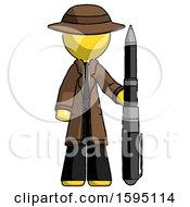 Yellow Detective Man Holding Large Pen