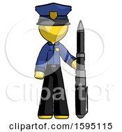 Yellow Police Man Holding Large Pen