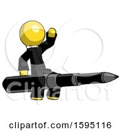 Yellow Clergy Man Riding A Pen Like A Giant Rocket