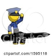 Yellow Police Man Riding A Pen Like A Giant Rocket