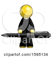 Yellow Clergy Man Weightlifting A Giant Pen