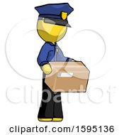 Yellow Police Man Holding Package To Send Or Recieve In Mail