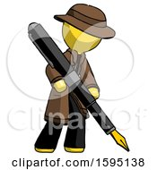 Poster, Art Print Of Yellow Detective Man Drawing Or Writing With Large Calligraphy Pen