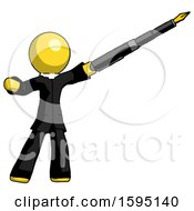 Poster, Art Print Of Yellow Clergy Man Pen Is Mightier Than The Sword Calligraphy Pose