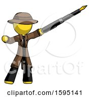 Poster, Art Print Of Yellow Detective Man Pen Is Mightier Than The Sword Calligraphy Pose