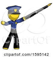 Poster, Art Print Of Yellow Police Man Pen Is Mightier Than The Sword Calligraphy Pose