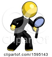 Yellow Clergy Man Inspecting With Large Magnifying Glass Right