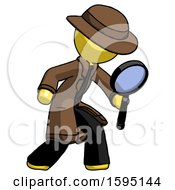 Yellow Detective Man Inspecting With Large Magnifying Glass Right