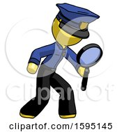 Yellow Police Man Inspecting With Large Magnifying Glass Right