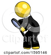 Yellow Clergy Man Inspecting With Large Magnifying Glass Left