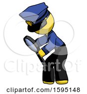 Yellow Police Man Inspecting With Large Magnifying Glass Left