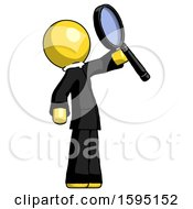 Yellow Clergy Man Inspecting With Large Magnifying Glass Facing Up