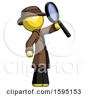 Yellow Detective Man Inspecting With Large Magnifying Glass Facing Up