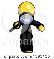 Yellow Clergy Man Looking Down Through Magnifying Glass