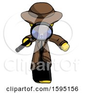 Yellow Detective Man Looking Down Through Magnifying Glass