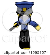 Yellow Police Man Looking Down Through Magnifying Glass