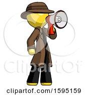 Yellow Detective Man Shouting Into Megaphone Bullhorn Facing Right