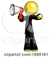 Yellow Clergy Man Shouting Into Megaphone Bullhorn Facing Left